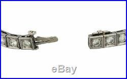 Ladies 1920s Antique Art Deco Estate Platinum 6.80ctw Diamond Sapphire Bracelet
