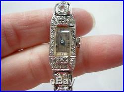 Ladies Art Deco Platinum & Genuine Diamond Geneve Bracelet Wind-up Wrist Watch