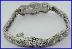 Ladies Platinum Art Deco Diamond Filigree Bracelet 2.70 Carats