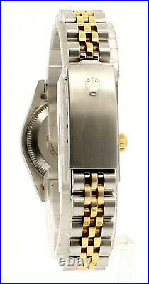 Ladies ROLEX Oyster Perpetual Datejust 26mm Gold & Steel Gold Linen Dial