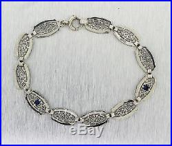 Lavish Ladies Antique Art Deco 14K White Gold Sapphire Diamond Filigree Bracelet