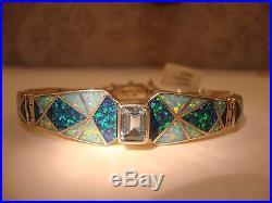 London Topaz Art Deco Fire Opal Linked Bracelet 7 Sterling 925 Ladies NWT$2,400