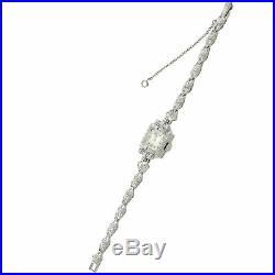 Longines Diamond Watch Bracelet 14k White Gold Antique Art Deco Estate 0.54ctw