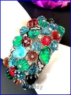 Magnificent Kenneth Lane Fruit Salad Tutti Frutti Glass Art Deco Link Bracelet