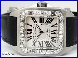 Men's Cartier Santos 100 XL 2656 Stainless Steel With 3 Carat Diamond Bezel