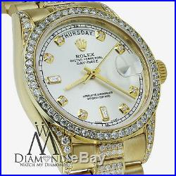 Men's Rolex President 18K Gold Day-Date 18038 Diamond Bracelet, Dial, Bezel & Lugs