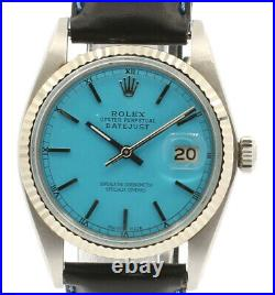 Mens ROLEX Oyster Perpetual DateJust 36mm Blue Dial Stainless Steel Watch