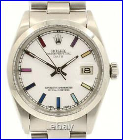 Mens ROLEX Oyster Perpetual Date 34mm Multi Color White Dial Stainless Watch