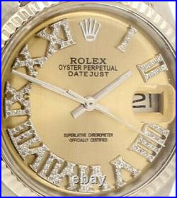 Mens ROLEX Oyster Perpetual Date 36mm Gold Roman Dial Diamond Stainless Watch