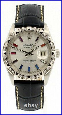 Mens ROLEX Oyster Perpetual Date 36mm Multi Color Silver Dial Stainless Watch