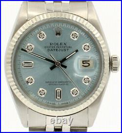 Mens ROLEX Oyster Perpetual Date 36mm Powder Blue Dial Diamond Stainless Watch