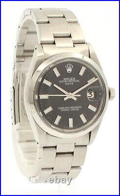 Mens Vintage ROLEX Oyster Perpetual Date 34mm BLACK Dial Stainless Steel Watch