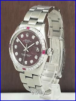 Mens Vintage ROLEX Oyster Perpetual Date 34mm RED Dial Diamond Stainless Watch
