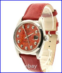 Mens Vintage ROLEX Oyster Perpetual Date 34mm RED OPAL Dial Diamond Stainless