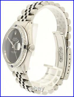 Mens Vintage ROLEX Oyster Perpetual Datejust 36mm BLACK Dial Diamond Watch