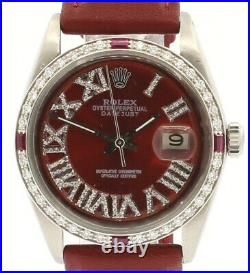 Mens Vintage ROLEX Oyster Perpetual Datejust 36mm RED Roman Dial Diamond Watch