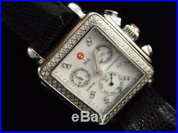 Michele Deco Diamond Women's Watch on Black Leather Band 121219