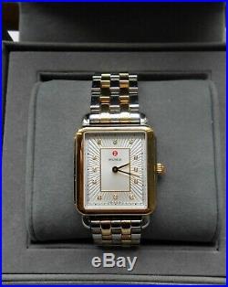 Michele New Deco II Diamond Two-tone Bracelet Watch Gold Silver. 05tcw Nib $1395