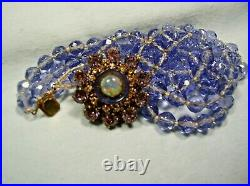 Miriam Haskell Art Deco Bracelet - Multi Lavender Rhinestones & Glass Crystals