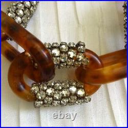Miriam Haskell Faux Tortoise & Rhinestone Choker Necklace, Bracelet, Earrings