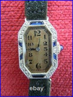 Montre femme or platine diamant saphir diamond platinium lady watch Art Deco