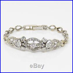 NYJEWEL 14K Gold Vintage Art Deco 2ct Diamond Bracelet