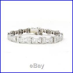 NYJEWEL 14k White Gold Art Deco Style 4.5ct Diamond Tennis Bracelet