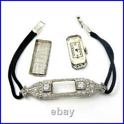NYJEWEL Antique Art Deco 14k White Gold Diamonds Ladies Bracelet Wrist Watch Run