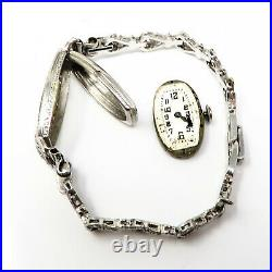 NYJEWEL Antique Art Deco Clycine Platinum 2ct Diamond Sapphire Bracelet Watch