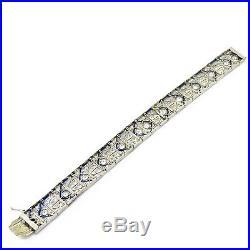 NYJEWEL Art Deco Platinum Sapphire & 6ct Diamond 13mm Wide Bracelet