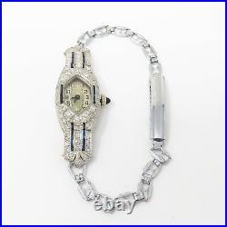 NYJEWEL Platinum Art Deco Antique Diamond Sapphire Wind Up Bracelet Watch