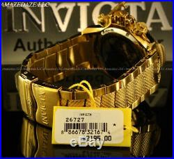 New Invicta 50mm Mens Poseidon Swiss Ronda Z60 Chrono 18K GP Stainless St. Watch
