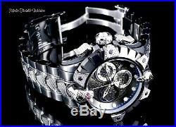 New Invicta Reserve 52mm Venom Viper Swiss Quartz Black & Silver Bracelet Watch