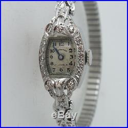 Normandie Art Deco Platinum Ladies Watch with Diamond Bezel