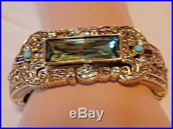 Nwt Heidi Daus Gotham Style Green Multi Art Deco Cuff Bracelet Hsn