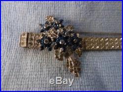 OTIS Providence 1943+ Sterling Silver Rhinestone Faux Sapphire Art Deco Bracelet