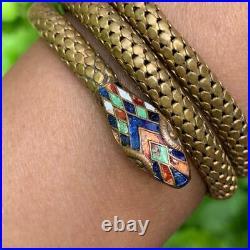 Old Art Deco Egyptian Rev Gold Tone Enamel Coiled Snake Serpent Bracelet Bangle