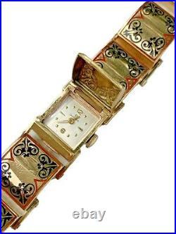Omega Massive 14K Rose Gold Ladies Art Deco Vintage Hidden Bracelet Enamel Watch