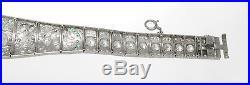 Original Art Deco 16.0 ctw. Diamond Emerald Bracelet Platinum 7.5' inch 46.3 g