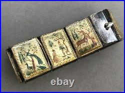 Persian Silver Panel Bracelet Hand Painted Mother of Pearl Art Deco Vintage MOP
