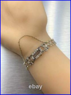 Platinum/14k White Gold Double Row Diamond & Pearl Antique/Art Deco Bracelet