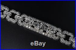 Platinum 177 Diamond Art Deco Bracelet Circa 1925-1930 Strap-and-Buckle 7 47g