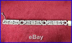 Platinum 177 Diamond Art Deco Bracelet Circa 1930s Handmade 7 X-HEAVY 47g