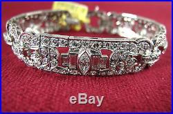 Platinum 177 Diamonds Art Deco Bracelet Circa 1930s Handmade 7
