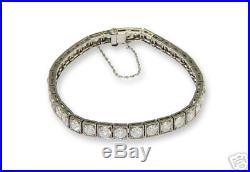 Platinum Art Deco Diamond Stright Line Bracelet/1920's