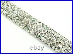 Platinum Art Deco Old Mine Diamond & Green Emerald Tennis Bracelet 15.30Ct