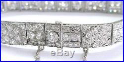 Platinum Art Deco / Vintage Old European Cut Diamond Tennis Bracelet 7.5 9.78CT