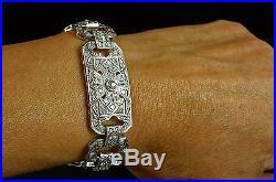 Platinum Diamond Art Deco Wide Vintage Antique Bracelet 6 1/4