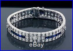 Platinum Diamond Sapphire Bracelet Art Deco