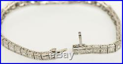 Platinum Diamond Sapphire Bracelet Art Deco Style Wide